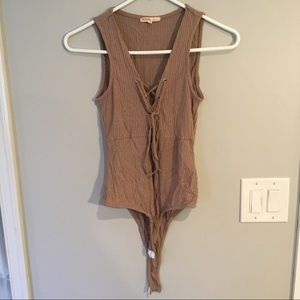 Love Culture tan ribbed lace-up bodysuit